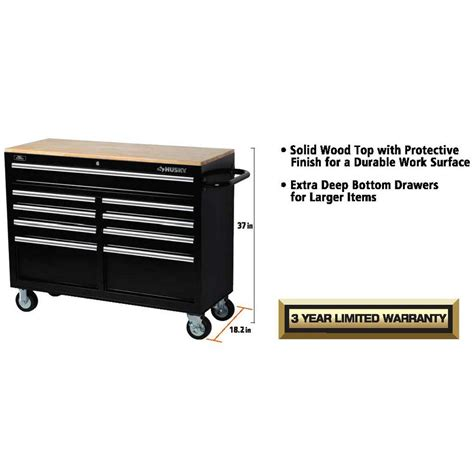 husky 46 inch 9 drawer mobile workbench with solid wood top husky 46 in 9 drawer mobile workbench with solid wood top