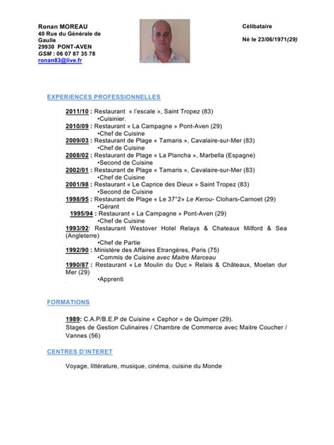 cv second de cuisine cv word ronan 2011 doc par sandrine cv word ronan 2011