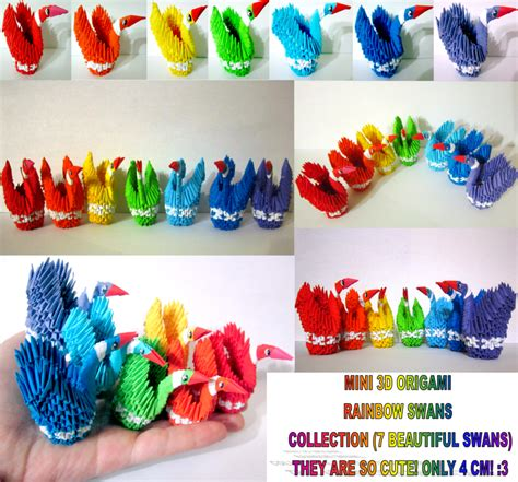 3d Origami Book Free - mini 3d origami rainbow swan collection by ellycolor on