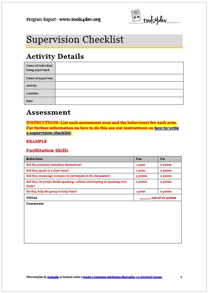 Supervision Checklist Template Tools4dev Social Skills Improvement System Report Template