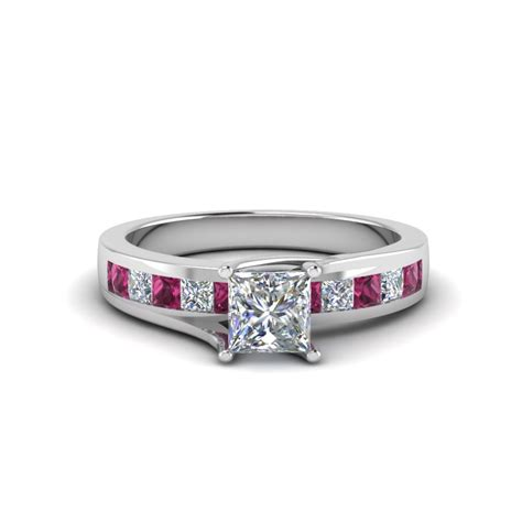 princess cut channel accent engagement ring with