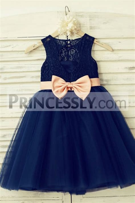 navy blue lace tulle keyhole back flower dress with blush pink belt bow avivaly