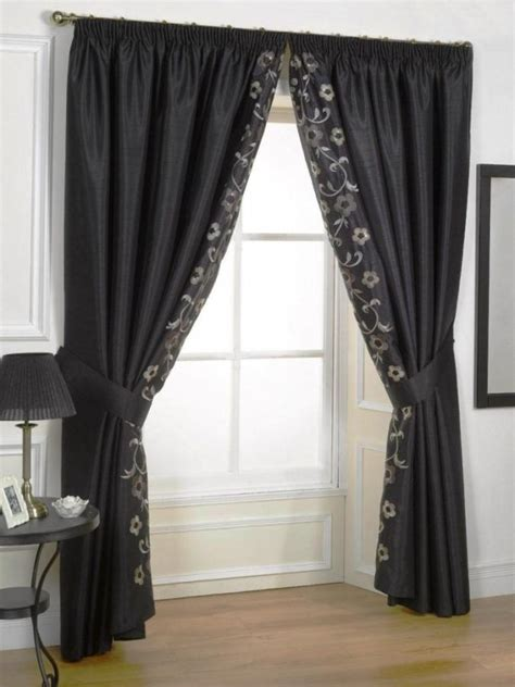 sheer curtain ideas for living room black color curtain and elegant floral motif also inner