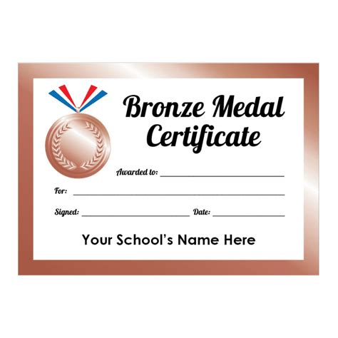 Sports Day Bronze Medal Certificates   School Stickers
