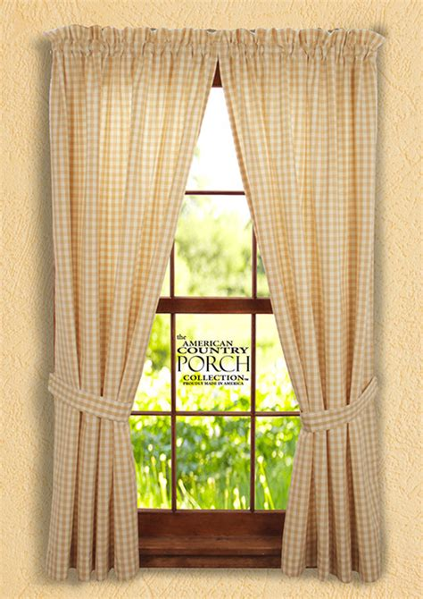 Cottage Country Curtains by Cottage Check Tieback Curtain Panels