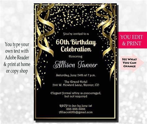 60th Birthday Invitation 60th Birthday Party Invitation 60th 60th Birthday Invitation Templates Free