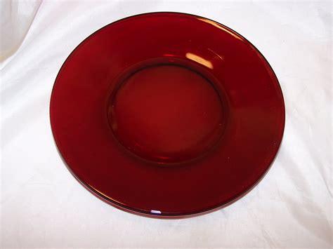 Ruby Red Depression Glass Plates, Cups, Sugar Bowl
