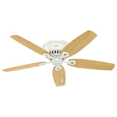Low Profile White Ceiling Fan With Light 53326 Builder Low Profile Snow White Light Oak 52 Quot Indoor Ceiling Fan 53326