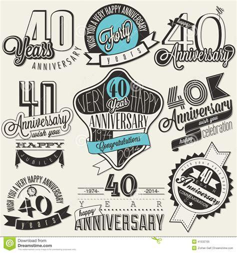 retro vintage style icon collection stock illustration vintage style 40 anniversary collection stock vector