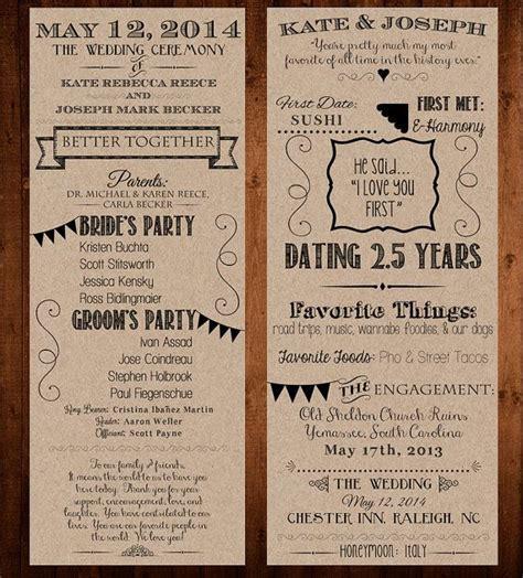 Our Love Story / Wedding Program Printable / 4.25x11