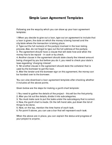 simple loan agreement form template 10 best images of basic loan agreement template personal