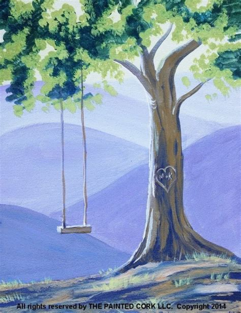 tree swing painting 42 easy landscape painting ideas for beginners