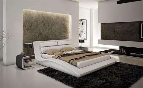 Modern King Size Bedroom Sets Canada Wave King Size Modern Design White Leather Platform Bed