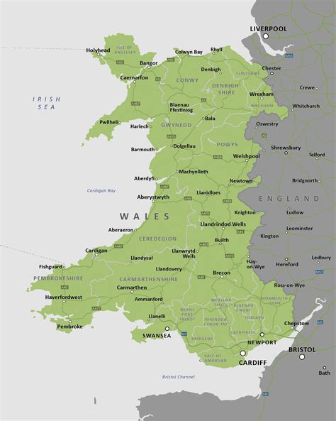printable road map of wales uk wales map with roads counties towns maproom