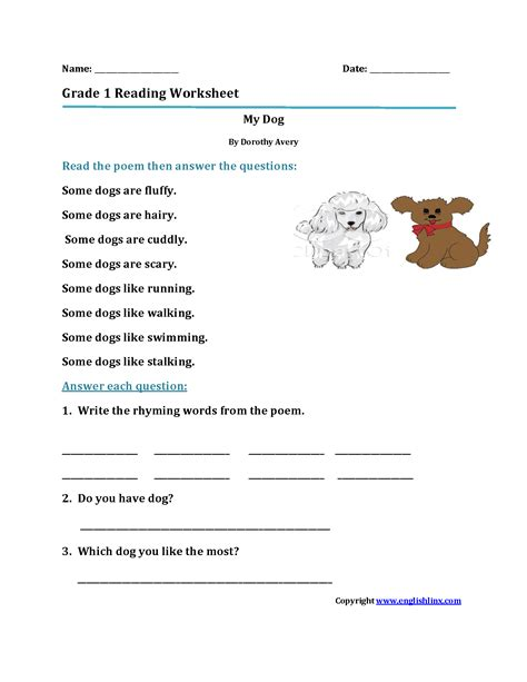my dog first grade reading worksheets upland high