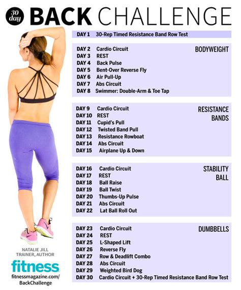 30 day exercise challenge for the 30 day fitness challenge back workout fitness magazine