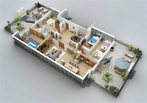 3d floorplan apartment designs shown with rendered 3d floor plans
