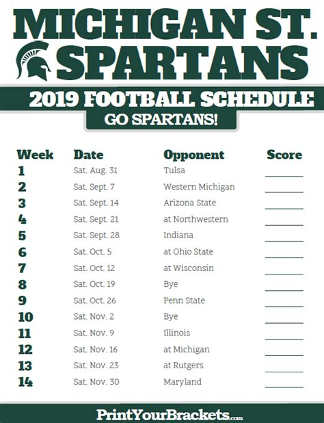 Michigan State Football Schedule 2018 Printable michigan state spartans 2019 football schedule printable