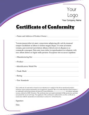 certificate of conformity template certificate of conformity templates pageprodigy print