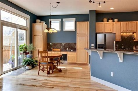 blue kitchen with oak cabinets best colors to go with oak cabinets natural wood