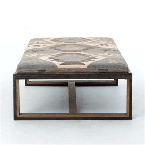 kilim coffee table ottoman eclectic iron and kilim upholstered coffee table ottoman