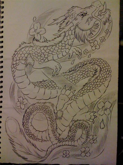 dragon tattoo with cherry blossom dragon and cherry blossom by tribalwolfie on deviantart
