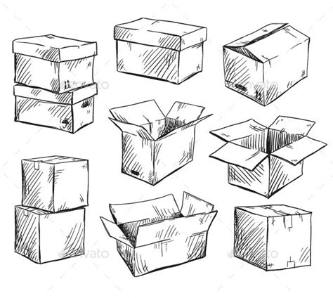 Set Of Doodle Cardboard Boxes By Kamenuka Graphicriver