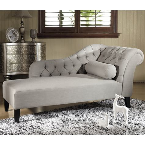 grey tufted chaise lounge aphrodite tufted putty gray linen modern chaise lounge