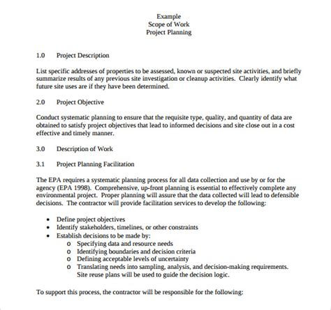 Scope Of Work Template For Contractor 23 Sle Scope Of Work Templates To Download Sle Templates