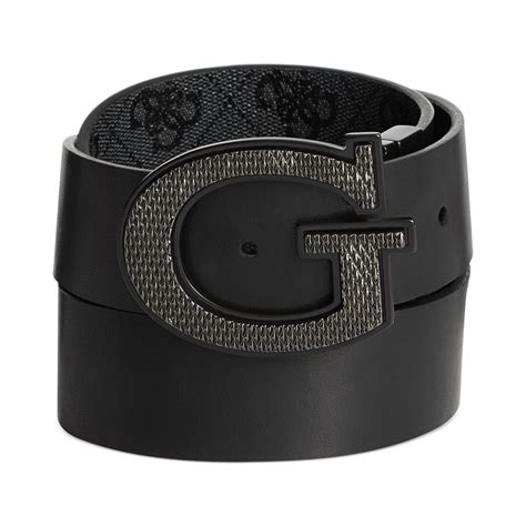 Guess Where This Belt Is From Go On Guess by Guess 35mm Reversible Leather Logo Buckle Belt In Black