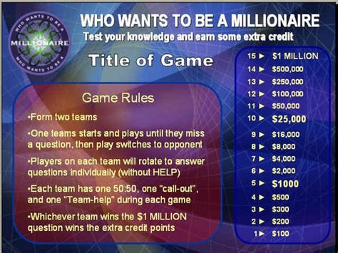 Quot Who Wants To Be A Millionaire Quot Powerpoint Review Game Millionaire Powerpoint Template With Sound