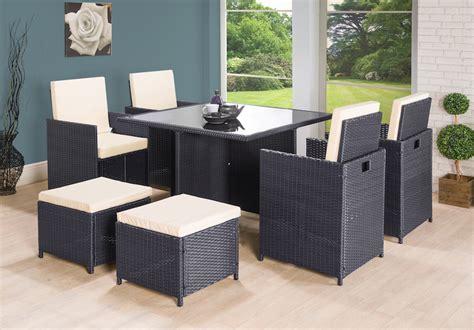 9pc Cube Rattan 8 Seater Garden Set Black Black Rattan Outdoor Furniture