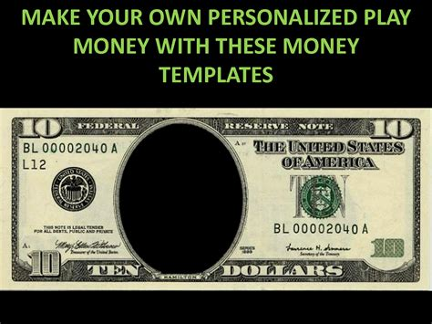 customizable money template free printable play money play money personalized