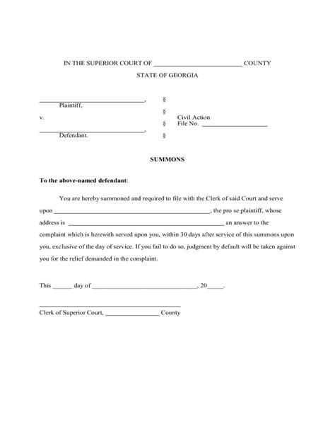credit card summons answer template answer to court summons template