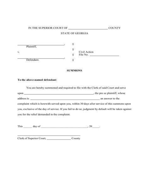 divorce summons form georgia free download