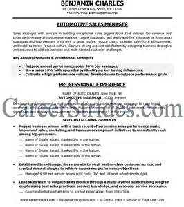 Car Sales Resume Exles by Car Sales Automotive Sales Resume Sle Exle