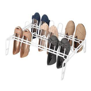floor shoe storage essential home white floor shoe rack 9 pair