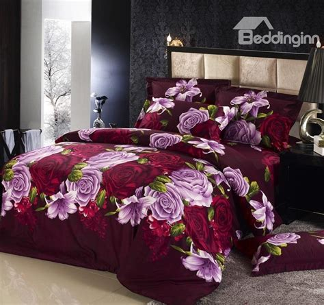 bedding inn com noble purple and wine red rose printed 4 piece bedding