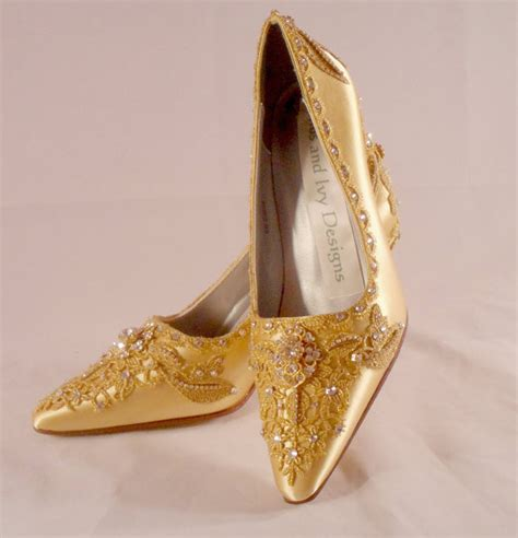 Gold Wedding Shoes by Antoinette Gold Lace Wedding Shoes Lace Bridal