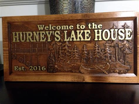 Handmade House Signs - personalized lake house sign great lake home sign lake