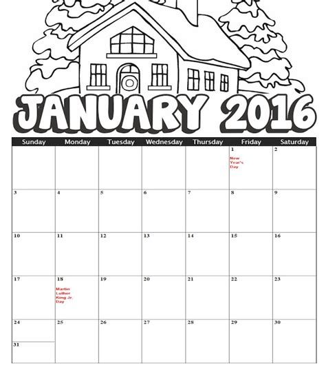 january 2016 calendar printable kids calendar template 2016