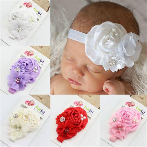new fashion baby satin ruffled rhinestone flower with pearl toddler headband band baby