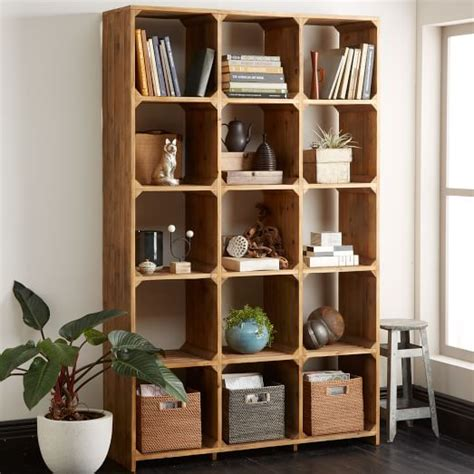 bleached pine bookcase west elm