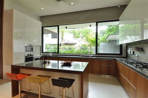Backyard Kitchen Ideas by Stylish Bungalow Inspired Residence In Singapore Sunset