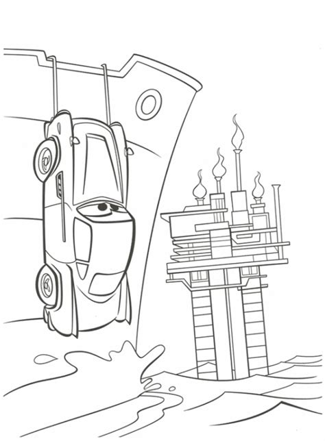 Coloring Page Cars 2 by Cars 2 Finn Mcmissile Hiding Printable Coloring Page