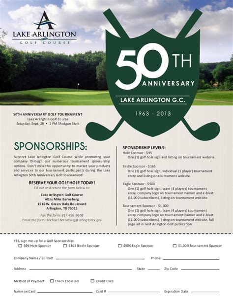 Lagc 50th Anniversary Golf Tournament Sponsor Form Golf Tournament Contract Template