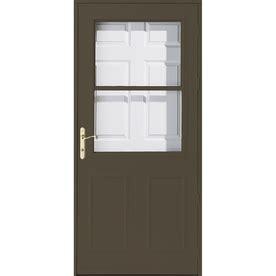 Pella Retractable Screen Door by Shop Pella Olympia Brown High View Safety Retractable