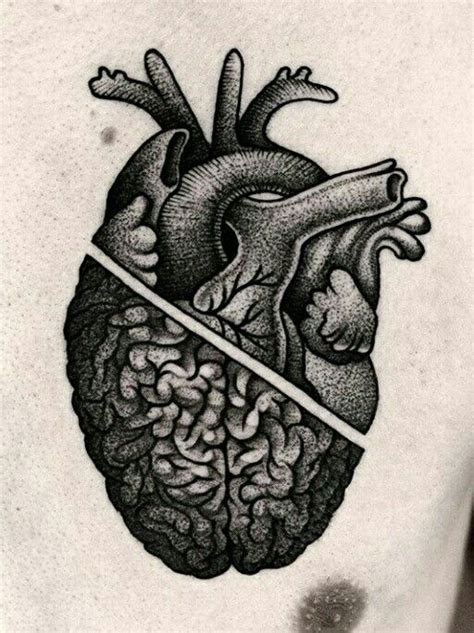 half heart tattoo best 25 brain ideas on