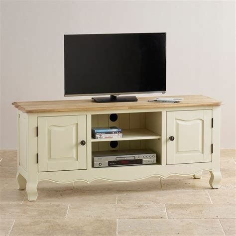 Painted Tv Cabinet by Painted Large Tv Cabinet In Brushed Oak