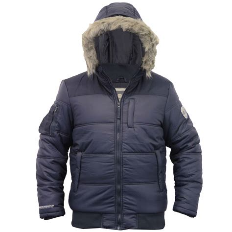 Crosshatch Quilted Jacket by Mens Jacket Crosshatch Coat Hooded Quilted Padded Bomber